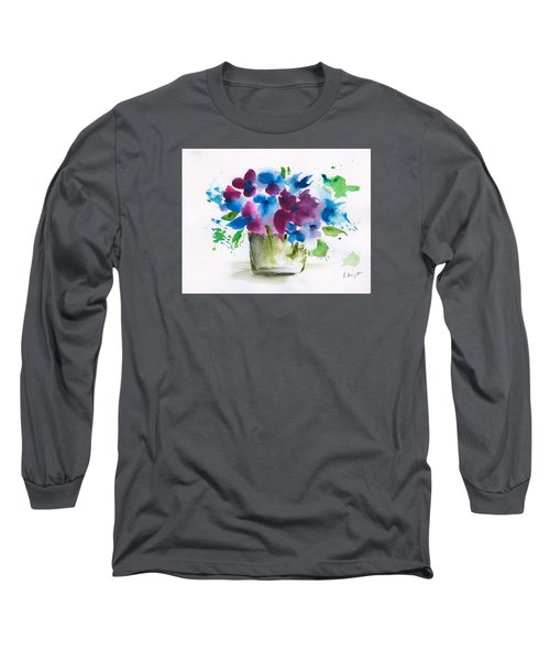 Flowers In A Glass Vase Abstract Long Sleeve T-Shirt by Frank Bright