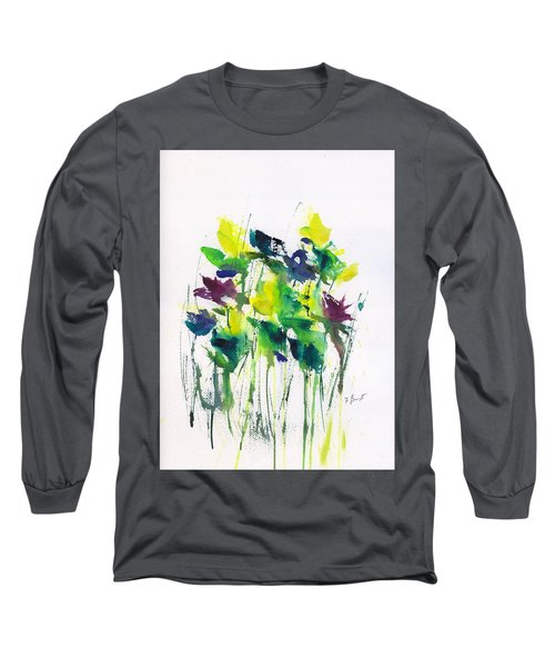 Flowers In Grass Abstract Long Sleeve T-Shirt
