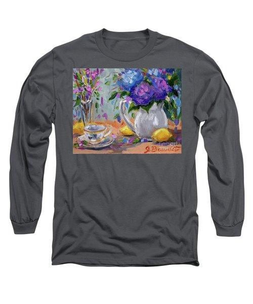 Flowers Lemons Long Sleeve T-Shirt by Jennifer Beaudet