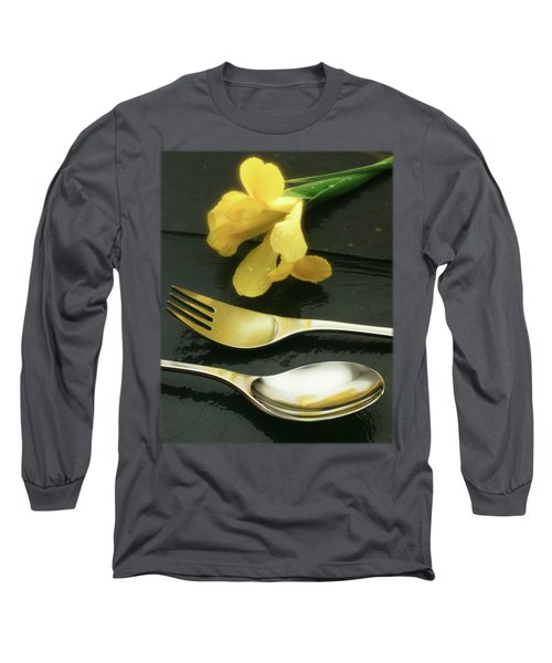 Flowers On Slate Long Sleeve T-Shirt by Jon Delorme