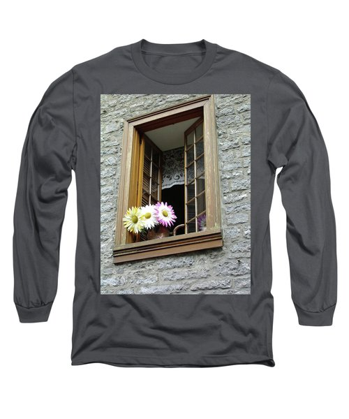 Long Sleeve T-Shirt featuring the photograph Flowers On The Sill by John Schneider