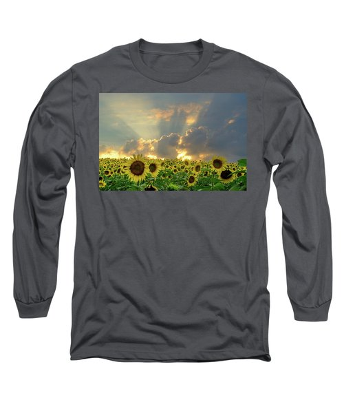 Long Sleeve T-Shirt featuring the photograph Flowers, Pillars And Rays, His Glory Will Shine by Janice Adomeit