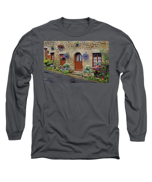 Flowery Doorways In Brittany Long Sleeve T-Shirt
