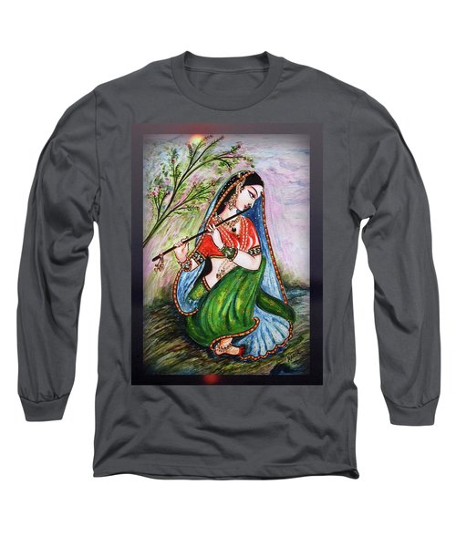 Flute Playing In - Krishna Devotion  Long Sleeve T-Shirt
