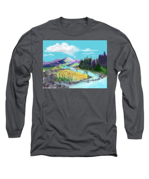 Fly Fishing With Aa Wooly Worm. Long Sleeve T-Shirt