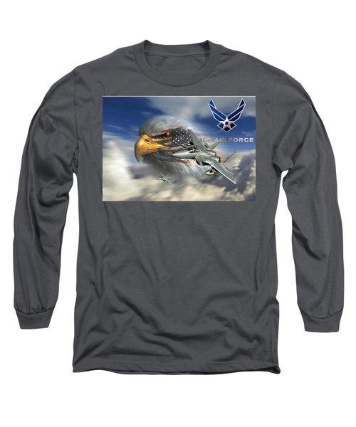 Fly Like The Eagle Long Sleeve T-Shirt by Ken Pridgeon