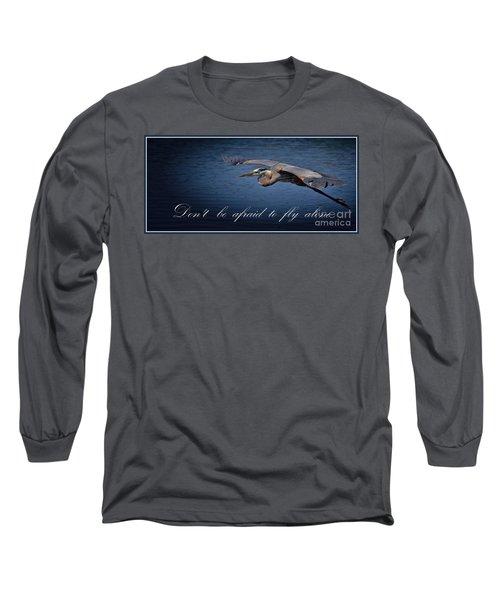 Flying Alone Long Sleeve T-Shirt by Pamela Blizzard