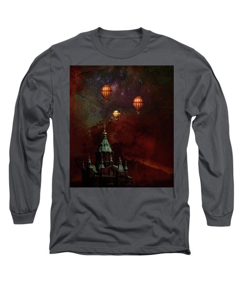 Long Sleeve T-Shirt featuring the digital art Flying Balloons Over Stockholm by Jeff Burgess
