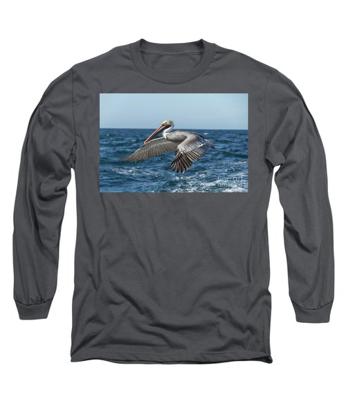 Long Sleeve T-Shirt featuring the photograph Flying Brown Pelican by Robert Bales