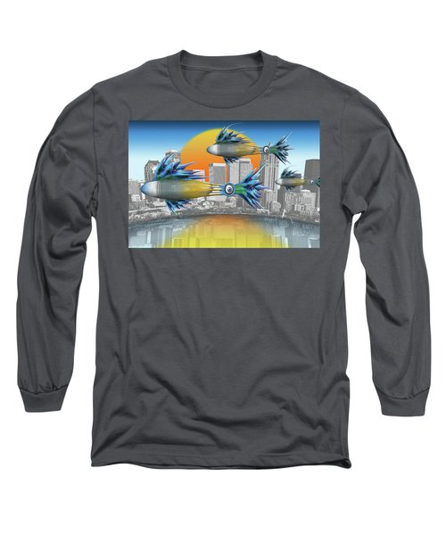 Long Sleeve T-Shirt featuring the digital art Flying Fisque  by Steve Sperry