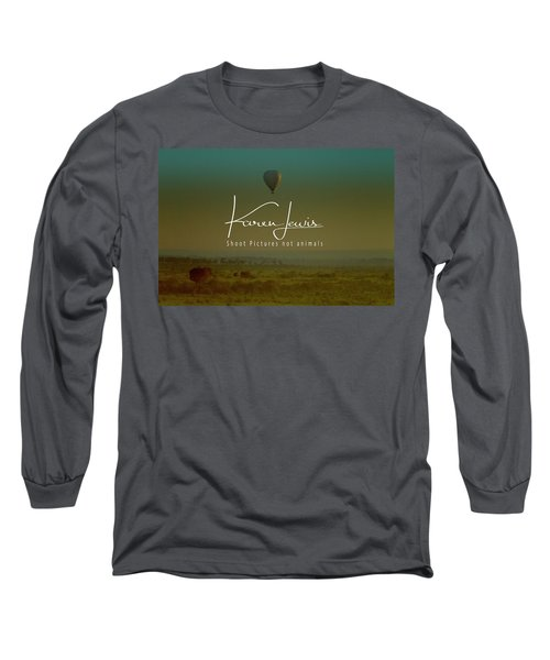 Long Sleeve T-Shirt featuring the photograph Flying High On The Masai Mara by Karen Lewis