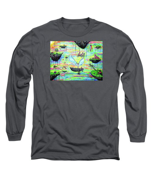 Long Sleeve T-Shirt featuring the painting Flying Islands by Viktor Lazarev