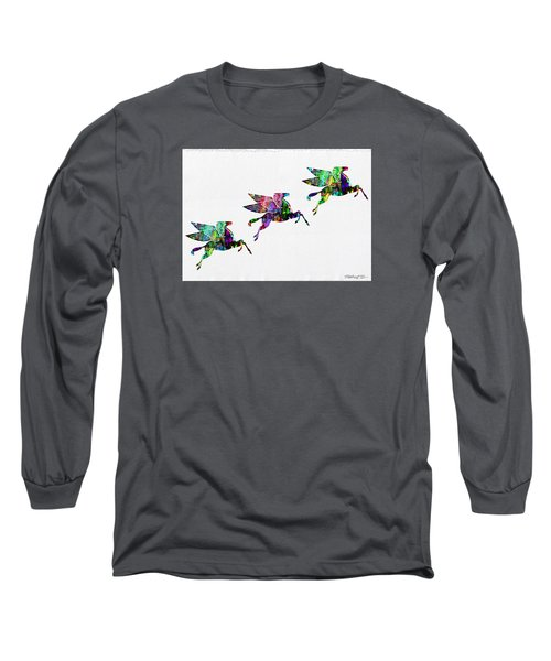 Flying Pegasus Rainbow Long Sleeve T-Shirt