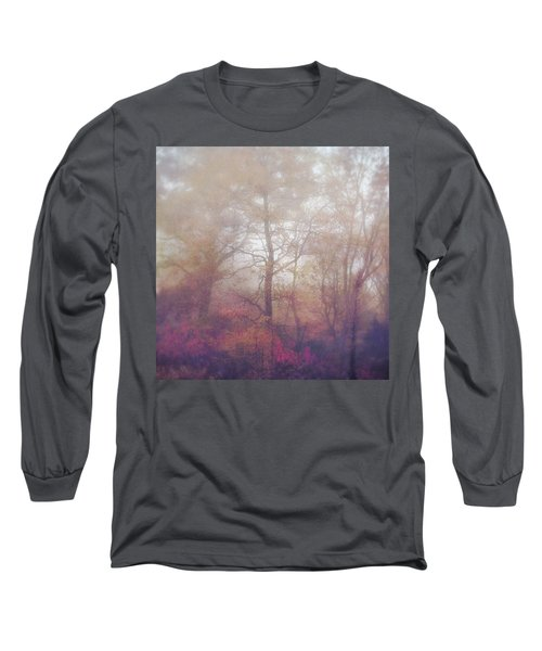 Fog In Autumn Mountain Woods Long Sleeve T-Shirt
