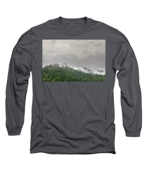 Fog Rolling Over Columbia River Gorge Long Sleeve T-Shirt