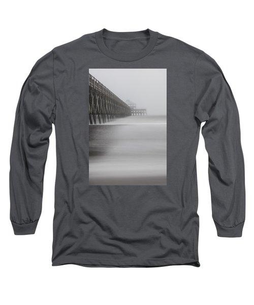 Foggy Folly Beach Pier Long Sleeve T-Shirt by John McGraw
