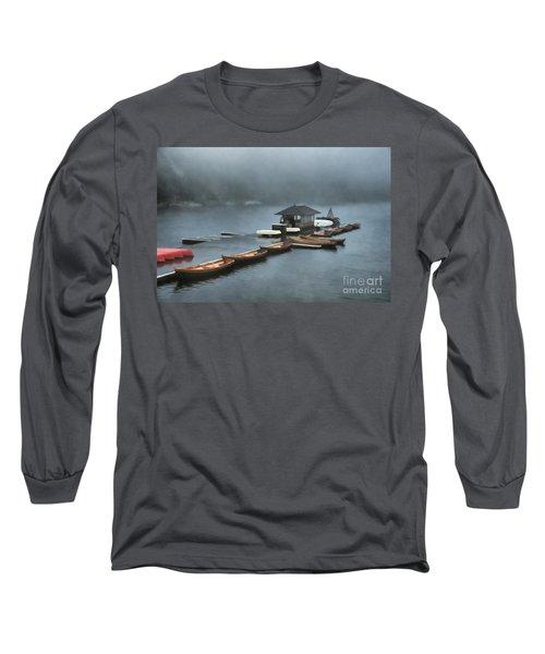 Foggy Morning At The Lake  Long Sleeve T-Shirt by Judy Palkimas