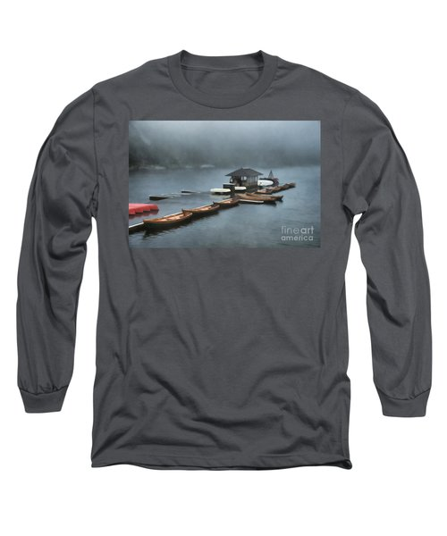 Foggy Morning At The Lake  Long Sleeve T-Shirt