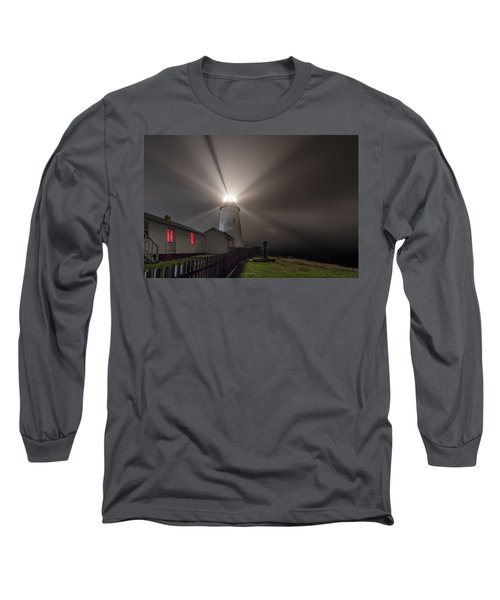 Foggy Night At Pemaquid Point Lighthouse Long Sleeve T-Shirt