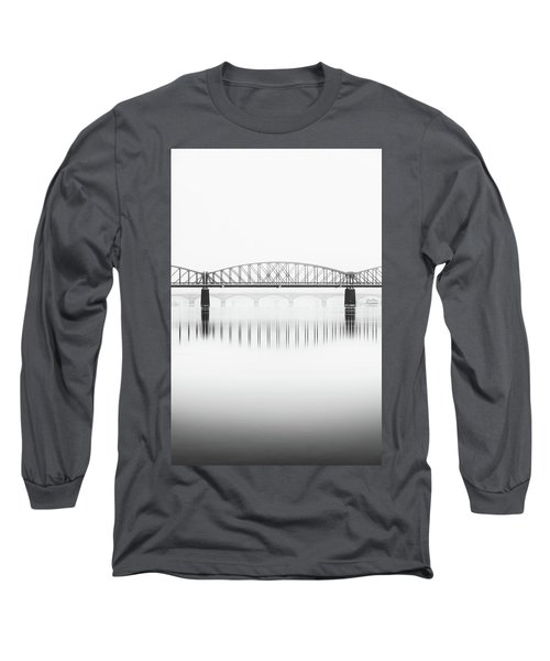Foggy Winter Mood At Vltava River. Reflection Of Bridges In Water. Black And White Atmosphere, Prague, Czech Republic Long Sleeve T-Shirt