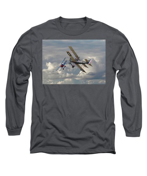 Long Sleeve T-Shirt featuring the digital art Fokker Dvll And Se5 Head To Head by Pat Speirs