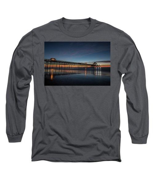 Folly Beach Pier Before Sunrise Long Sleeve T-Shirt