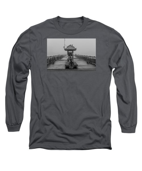 Folly Beach Pier Black And White  Long Sleeve T-Shirt