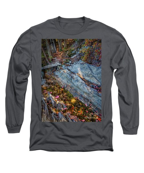 Forest Tidal Pool In Granite, Harpswell, Maine  -100436-100438 Long Sleeve T-Shirt by John Bald