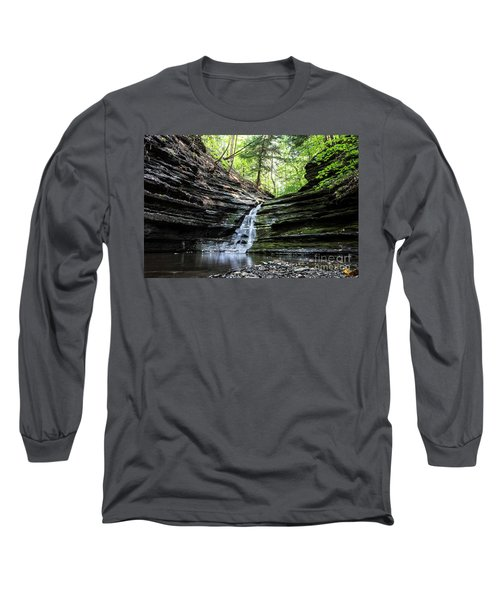 Long Sleeve T-Shirt featuring the photograph Forest Waterfall by MGL Meiklejohn Graphics Licensing