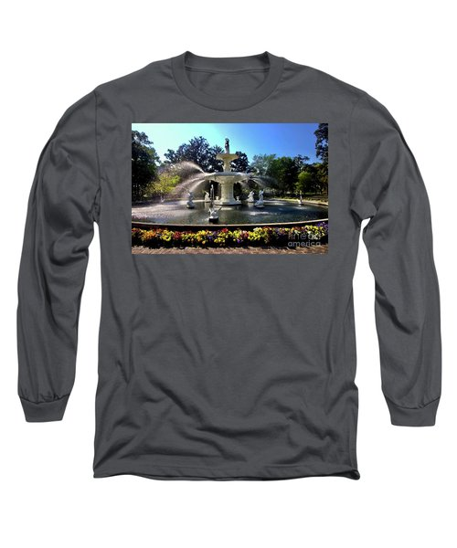 Forsyth Fountain In Spring Long Sleeve T-Shirt