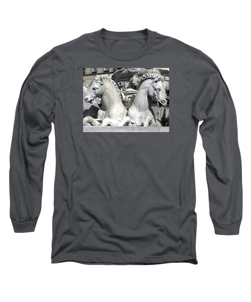 Fountain Of Neptune Florence Long Sleeve T-Shirt by Lisa Boyd