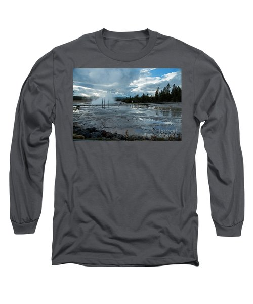 Fountain Paint Pot Area Long Sleeve T-Shirt by Cindy Murphy - NightVisions