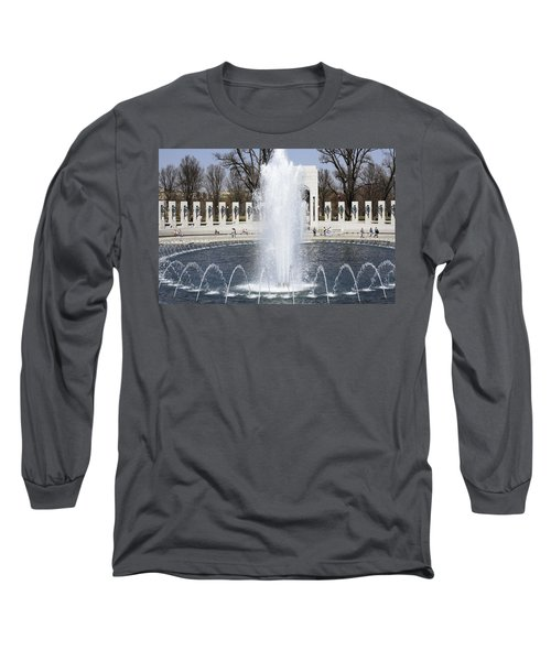 Fountains At The World War II Memorial In Washington Dc Long Sleeve T-Shirt