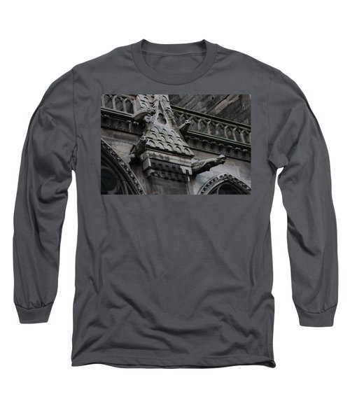 Long Sleeve T-Shirt featuring the photograph Four Gargoyles On Notre Dame North by Christopher Kirby
