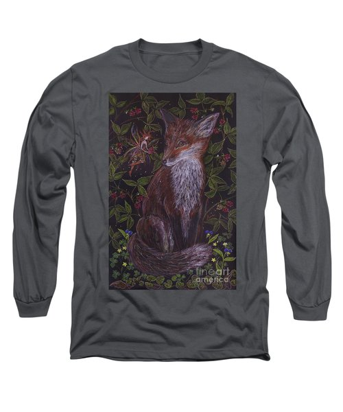 Long Sleeve T-Shirt featuring the drawing Fox In The Berry Bushes by Dawn Fairies