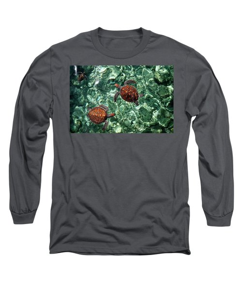 Fragile Underwater World. Sea Turtles In A Crystal Water. Maldives Long Sleeve T-Shirt
