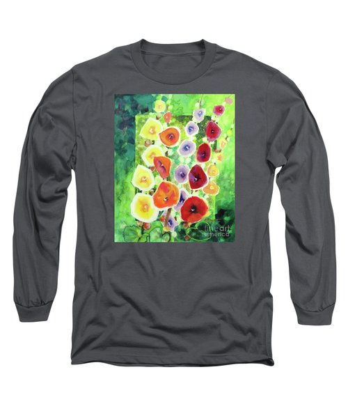 Long Sleeve T-Shirt featuring the painting Framed In Hollyhocks by Kathy Braud