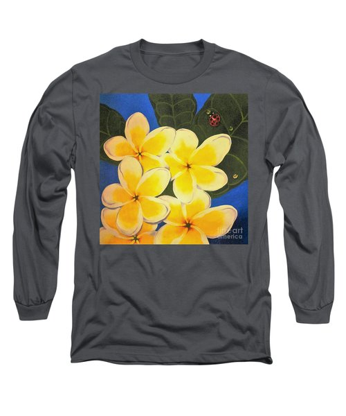 Long Sleeve T-Shirt featuring the painting Frangipani With Lady Bug by Sandra Phryce-Jones