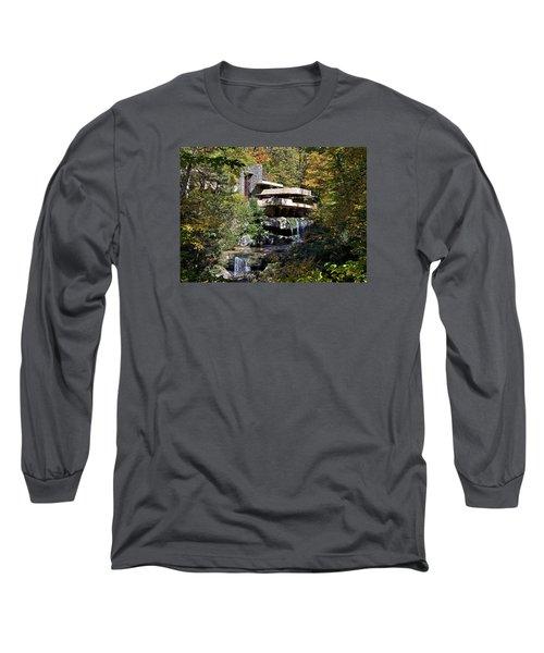 Frank Lloyd Wrights Fallingwater Long Sleeve T-Shirt by Brendan Reals