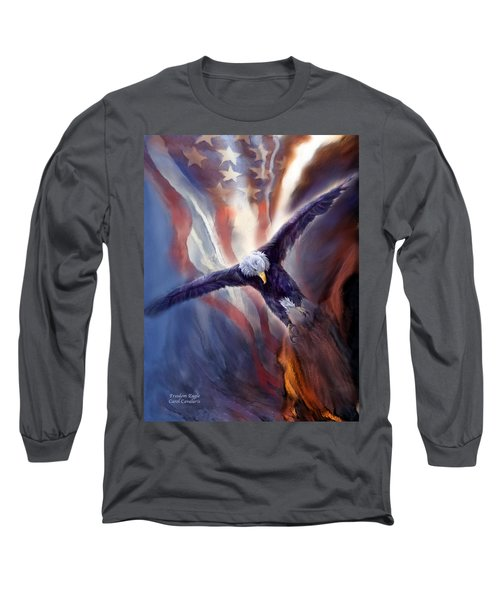 Long Sleeve T-Shirt featuring the mixed media Freedom Eagle by Carol Cavalaris