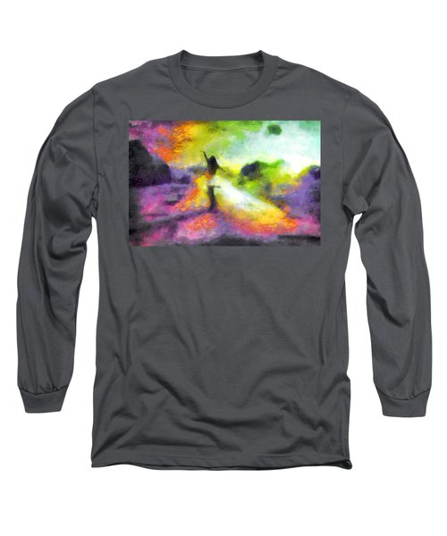 Freedom In The Rainbow Long Sleeve T-Shirt by Mario Carini