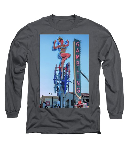 Fremont Street Lucky Lady And Gambling Neon Signs Long Sleeve T-Shirt