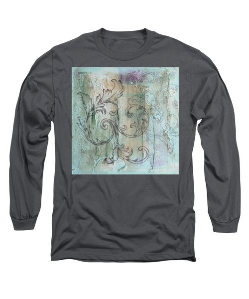 French Country Scroll In Muted Blue Long Sleeve T-Shirt