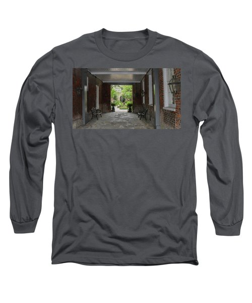 French Quarter Courtyard Long Sleeve T-Shirt by Mark Barclay