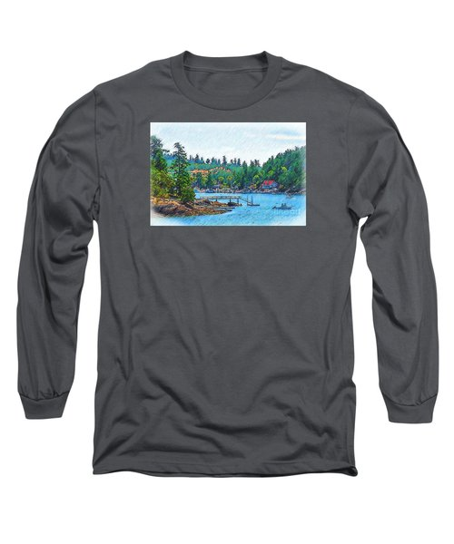 Friday Harbor Sketched Long Sleeve T-Shirt by Kirt Tisdale