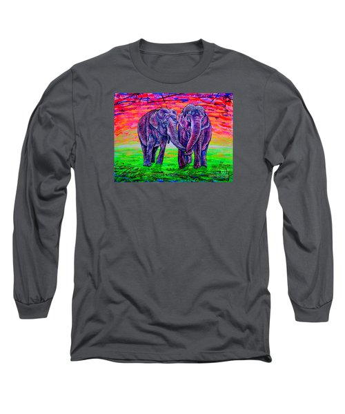 Long Sleeve T-Shirt featuring the painting Friends by Viktor Lazarev