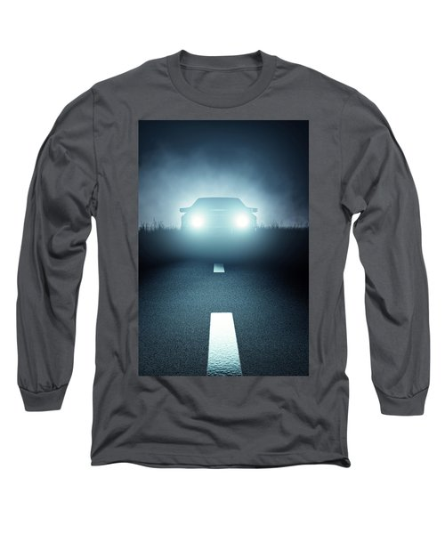 Front Car Lights At Night On Open Road Long Sleeve T-Shirt