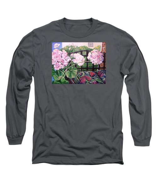 Long Sleeve T-Shirt featuring the painting Front Porch Flowers by Laura Aceto