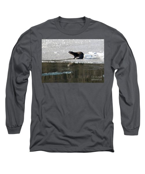 Frosty River Otter  Long Sleeve T-Shirt by Mike Dawson