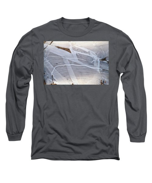 Frozen Water On Ground Long Sleeve T-Shirt by Amelia Racca